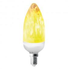 Λάμπα LED flame E14 C37 ισχύος 3W 100-240V 1500K θερμό λευκό φως διάρκειας 25000h